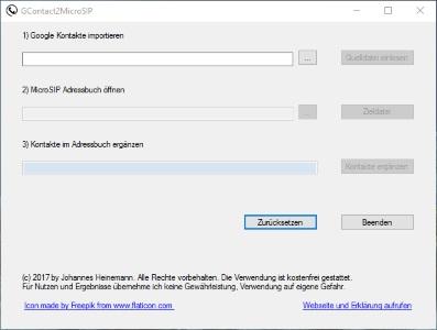 Google Kontakte nach MicroSIP importieren – ein Tool zum Konvertieren