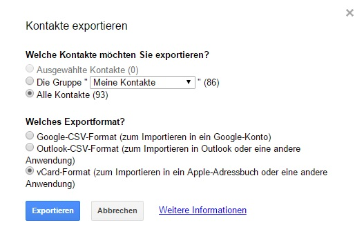 Screenshot Google Kontakte exportieren