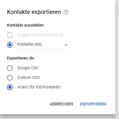 Screenshot: Google Kontakte exportieren (neu)