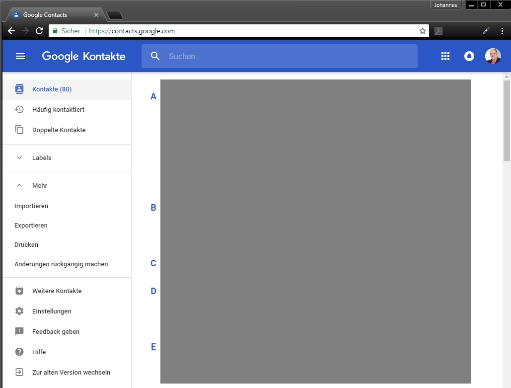 Screenshot: Google Kontakte (neu)