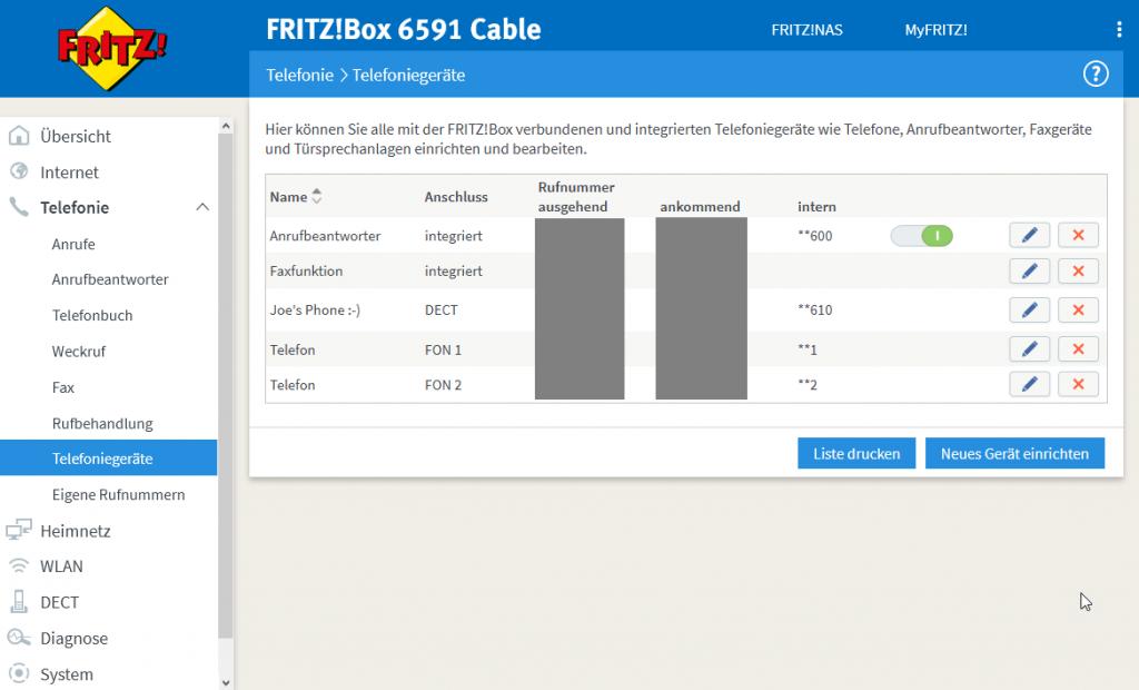 Screenshot Telefonie - Telefoniegeräte
