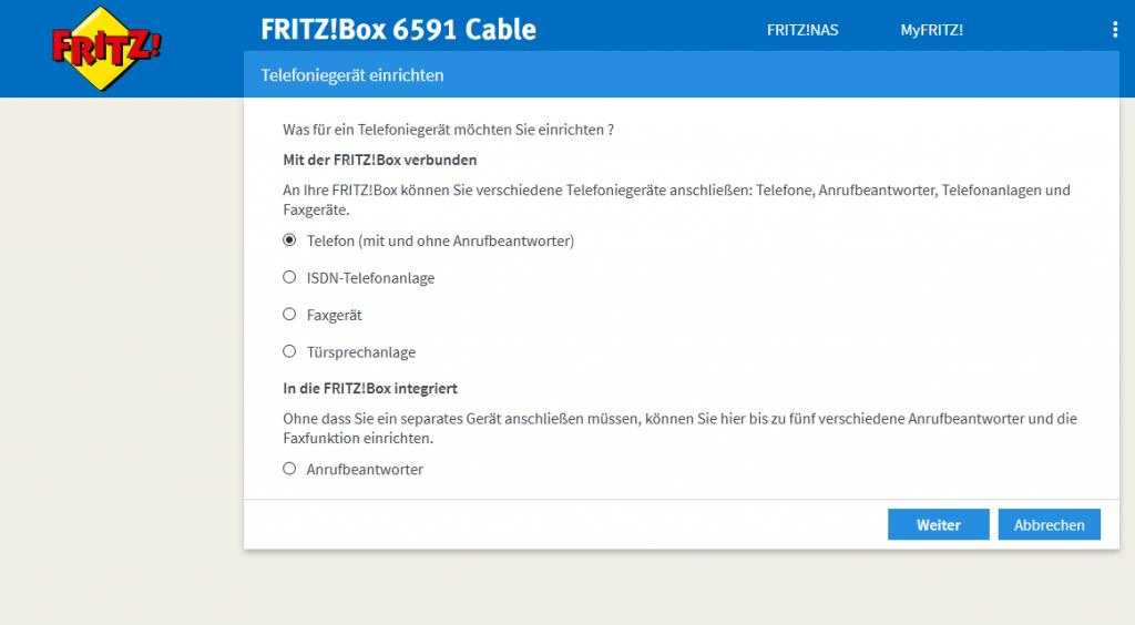 Screenshot Telefonie - Telefoniegerät einrichten - Telefon