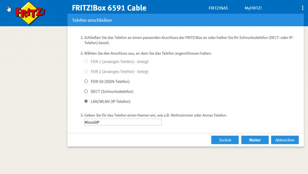 Screenshot Telefonie - Telefoniegerät einrichten - LAN IP-Telefon