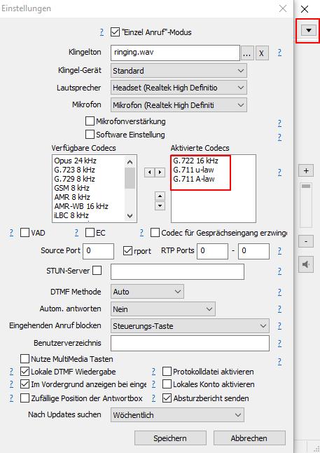 MicroSIP Einstellungen - Codecs wählen